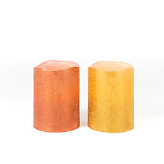 4-inch Cinnamon-Scented Flameless LED Candles, Assorted Orange/Yellow
