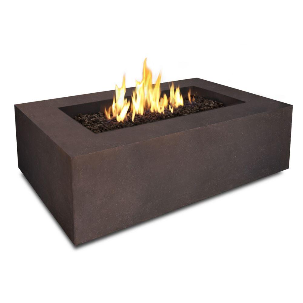 Baltic Rectangular Propane Outdoor Fireplace In Kodiak Brown