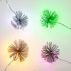 Jeu de mini-lumières d'Halloween assorties, 4couleurs (blanc, mauve, orange et vert)