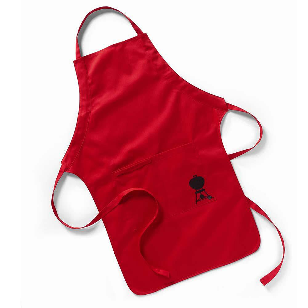 Weber BBQ Apron in Red with Embroidered Black Kettle