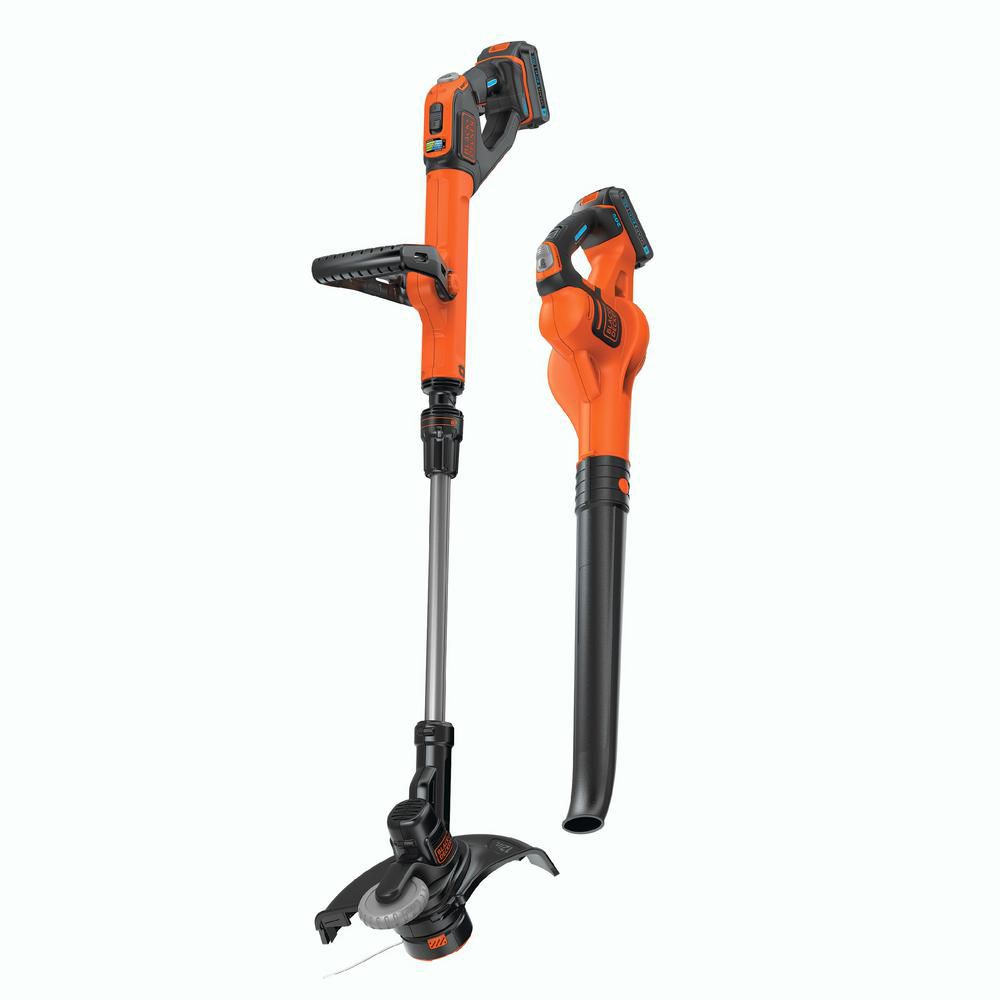 Black & Decker Smartech 20V Combo Kit String Trimmer and Sweeper (2 Batteries Included)
