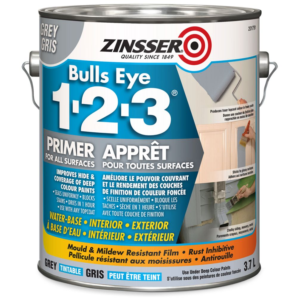 Zinsser Bulls-Eye 1-2-3 Grey Primer 3.7L