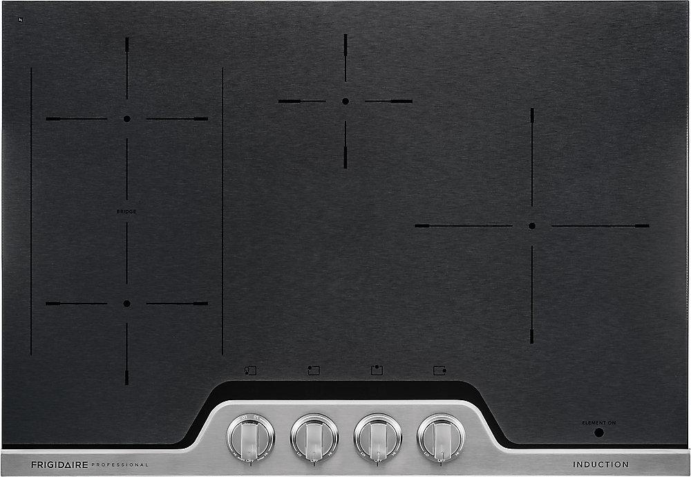 Table de cuisson à induction de 30 po en céramique noire avec finition en acier inoxydable
