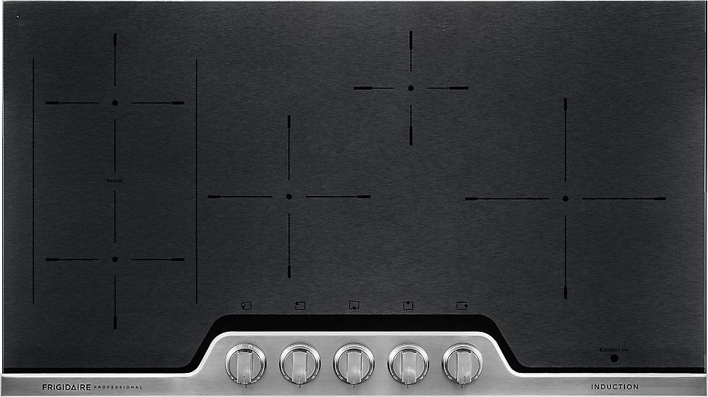 Table de cuisson à induction de 36 po en céramique noire avec finition en acier inoxydable