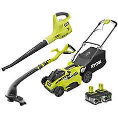 ONE+ 18-Volt Mower, Trimmer, and Blower Combo Kit with (2) 4.0 Ah Batteries