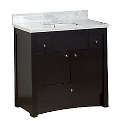 American Imaginations 36-inch W 3-Drawer 2-Door Freestanding Vanity in Brown With Marble Top in White