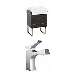American Imaginations 24-inch W 1-Drawer Freestanding Vanity in Grey With Quartz Top in Black With Faucet