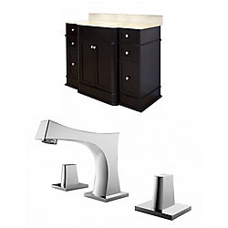 American Imaginations 50-inch W 6-Drawer 2-Door Vanity in Brown With Marble Top in Beige Tan With Faucet