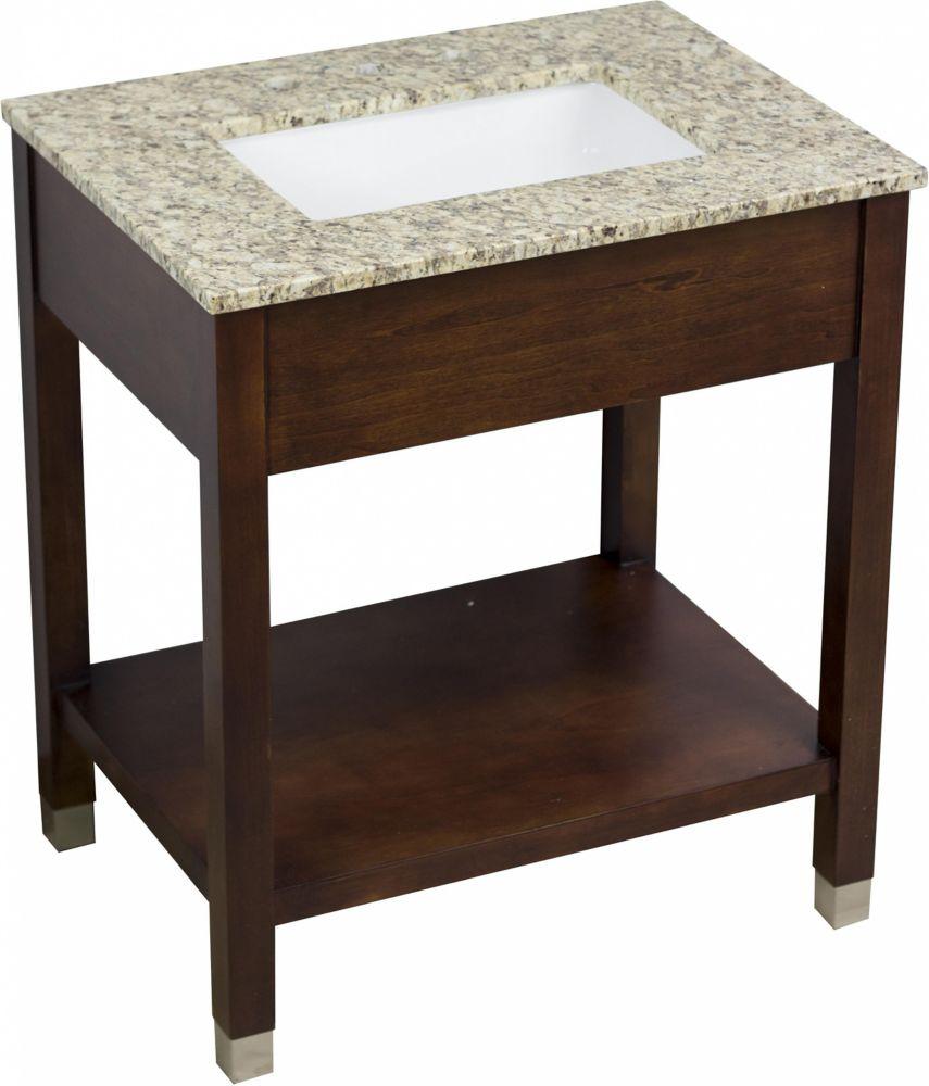 American Imaginations 30-inch W Freestanding Vanity in Brown With Granite Top in Beige Tan