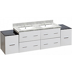 American Imaginations 74-inch W 6-Drawer Wall Mounted Vanity in White, Double Basins