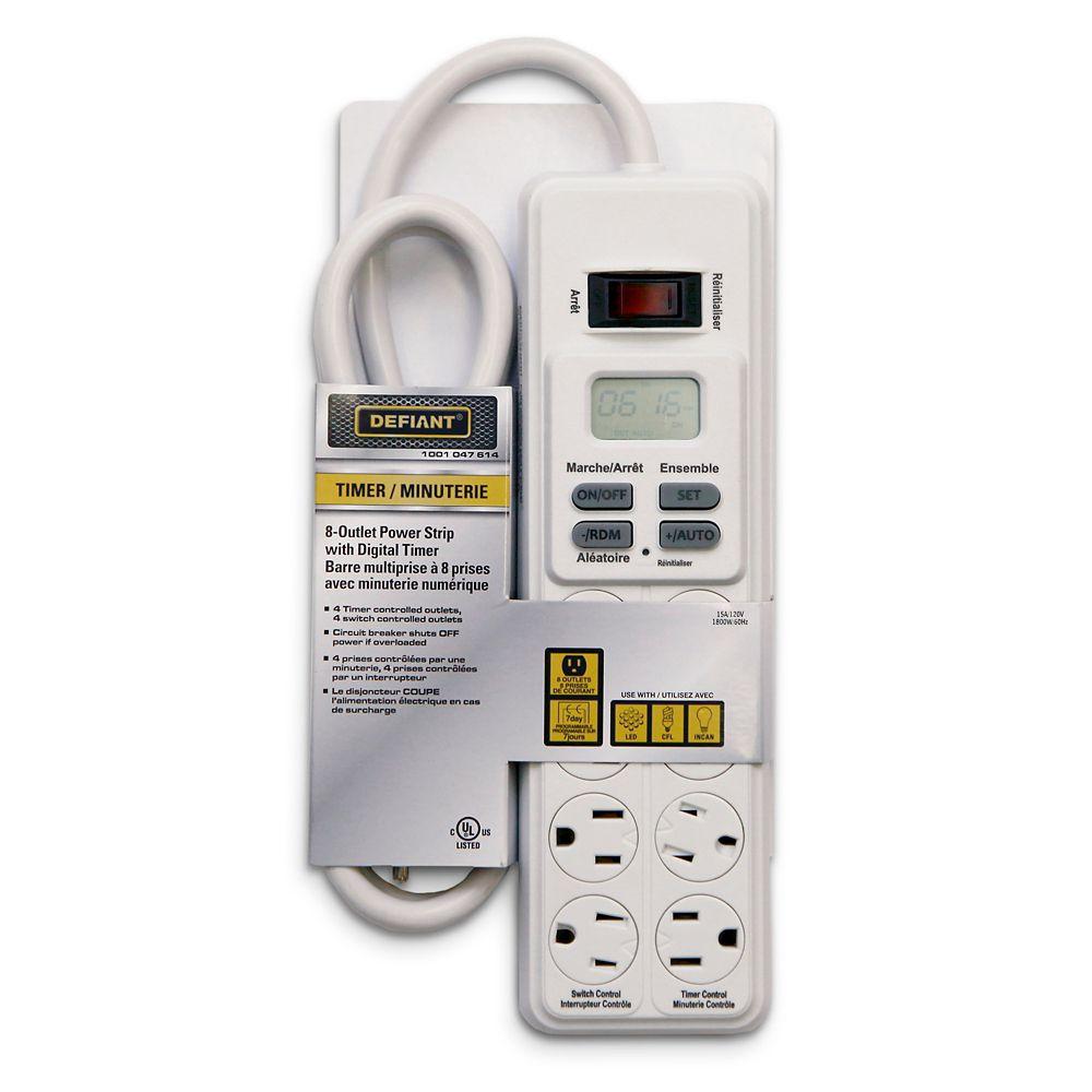 Defiant 8 Outlet Power Strip w/Digital Timer