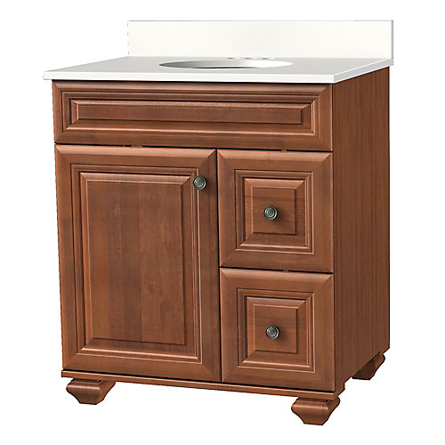 Brentstone 31-inch W 1-Door 2-Drawer Vanity in Mocha with Stone Top