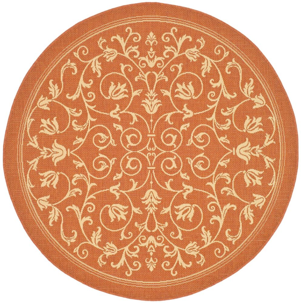 Courtyard Marc Terracotta / Natural 5 ft. 3 inch x 5 ft. 3 inch Indoor/Outdoor Round Area Rug