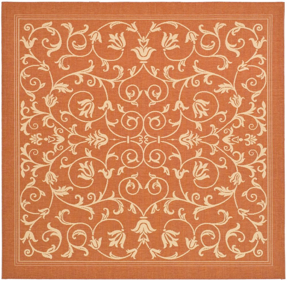 Courtyard Marc Terracotta / Natural 6 ft. 7 inch x 6 ft. 7 inch Indoor/Outdoor Square Area Rug