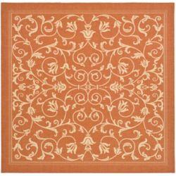 Safavieh Carpette d'intérieur/extérieur, 6 pi 7 po x 6 pi 7 po, style transitionnel, carrée, orange Courtyard