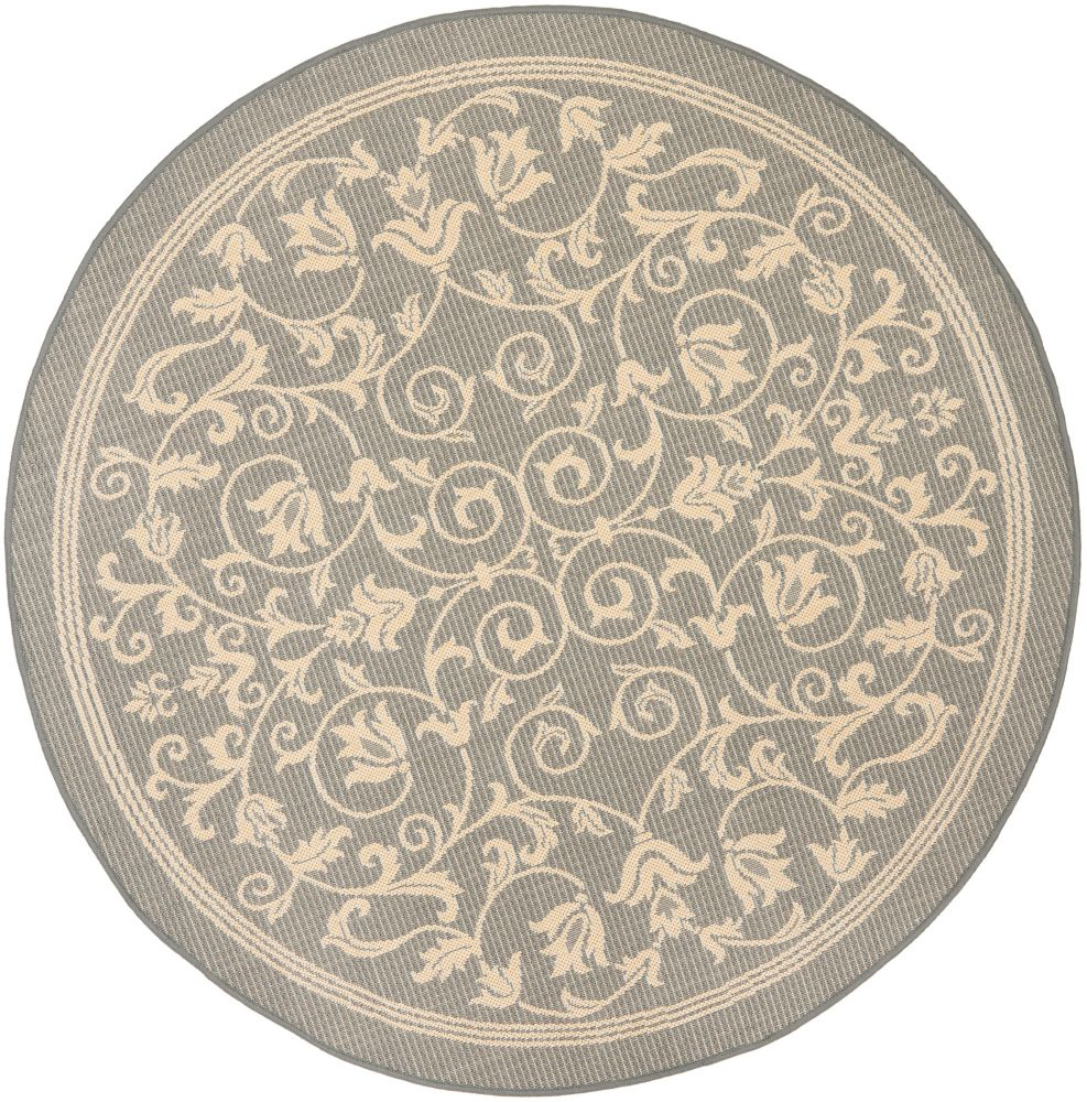 Safavieh Courtyard Marc Grey / Natural 6 ft. 7 inch x 6 ft. 7 inch Indoor/Outdoor Round Area Rug