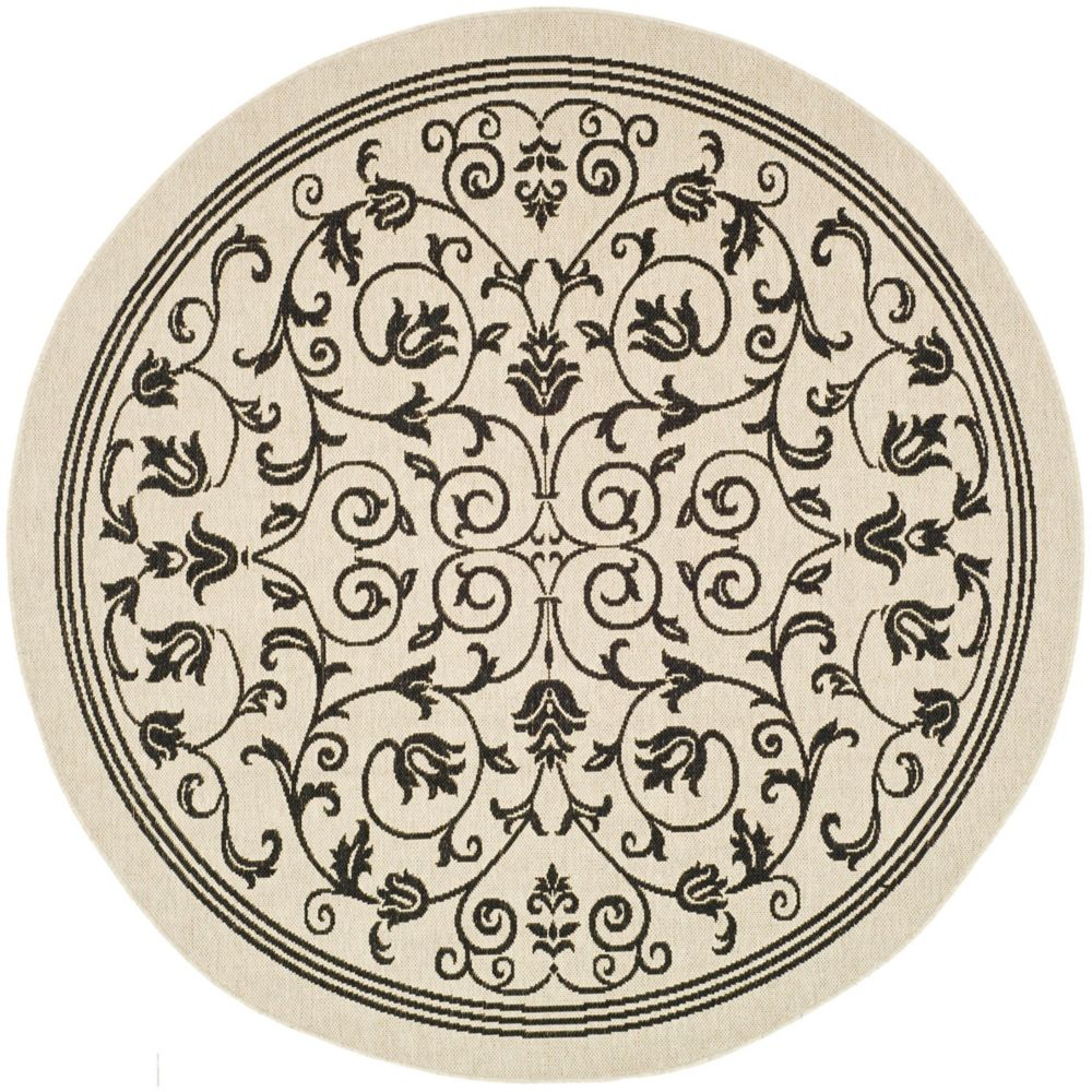 Courtyard Marc Sand / Black 5 ft. 3 inch x 5 ft. 3 inch Indoor/Outdoor Round Area Rug