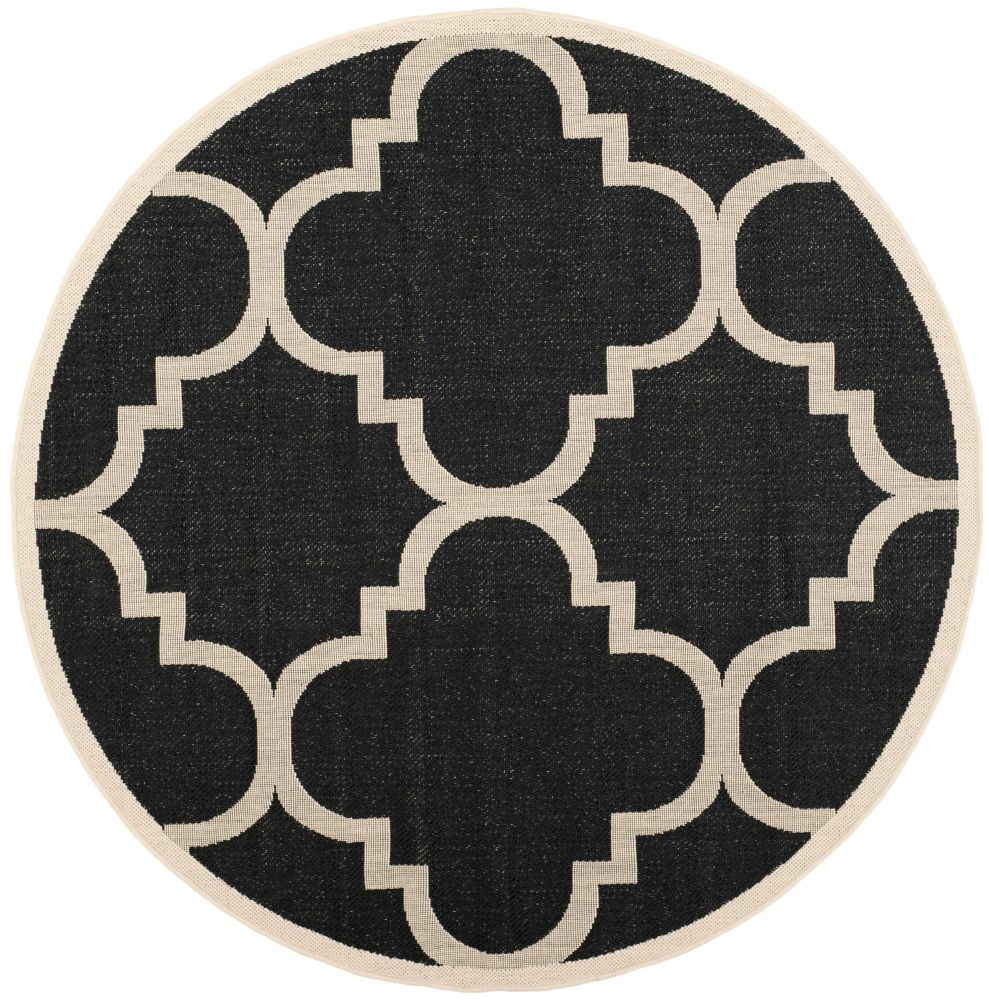 Safavieh Courtyard Alex Black / Beige 5 ft. 3 inch x 5 ft. 3 inch Indoor/Outdoor Round Area Rug