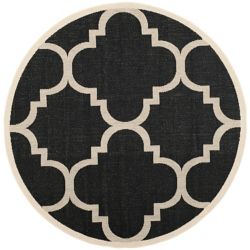 Safavieh Courtyard Alex Black / Beige 7 ft. 10 inch x 7 ft. 10 inch Indoor/Outdoor Round Area Rug