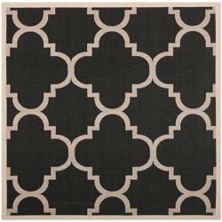 Safavieh Carpette d'intérieur/extérieur, 7 pi 10 po x 7 pi 10 po, style transitionnel, carrée, noir Courtyard