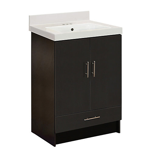 Cali 25-inch W 1-Drawer 2-Door Freestanding Vanity in Espresso With Artificial Stone Top in White