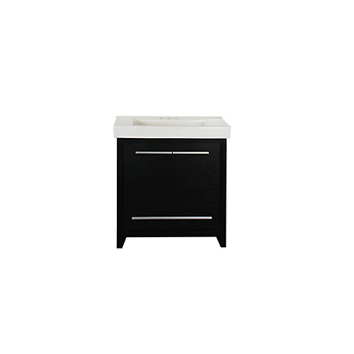 Romali 30.37-inch W 1-Drawer 2-Door Freestanding Vanity in Black With Ceramic Top in White