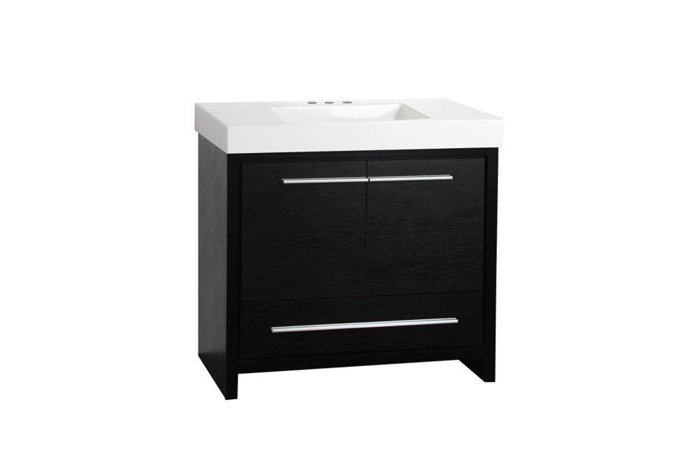 GLACIER BAY Romali 36-inch W 1-Drawer 2-Door Freestanding Vanity in Black With Ceramic Top in White