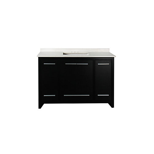 """Romali 48-inch W 3-Drawer 4-Door Freestanding Vanity in Black With Artificial Stone Top in White 4"""" center"""