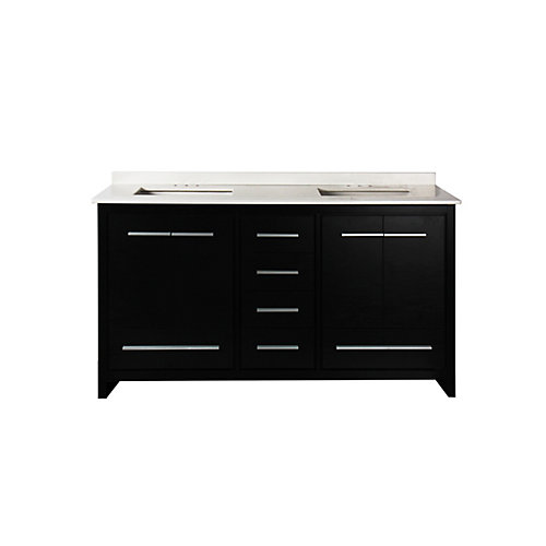 Romali 60-inch W 6-Drawer 4-Door Vanity in Black With Artificial Stone Top in White, Double Basins