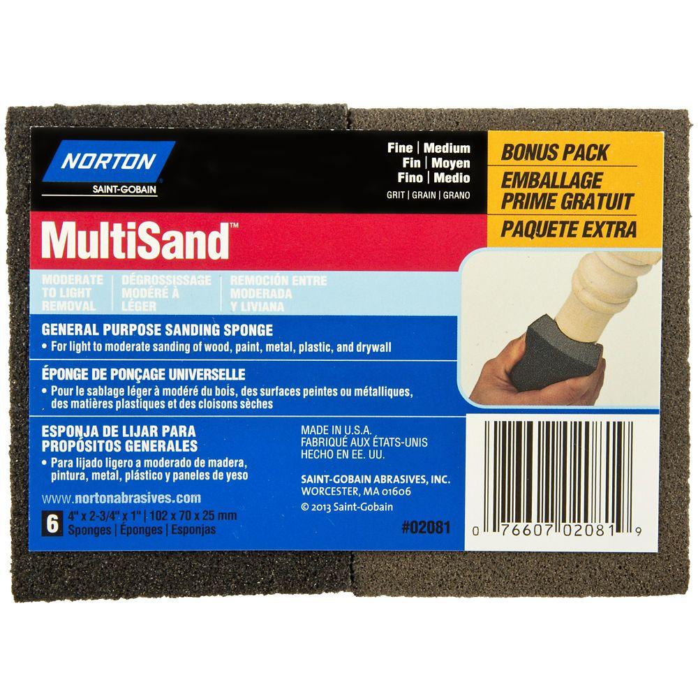 Norton MultiSand 6PK Bonus Pack Fine / Medium Sponge