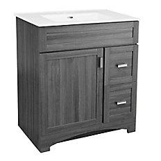 """GLACIER BAY Rocara 30-inch W Vanity in Grey with Vitreous China Top on glacier bay furniture, glacier bay 24"""" vanity spa, glacier bay mirrors, vanity drawer cabinets, glacier bay countertops, del mar cabinets, glacier bay bathtubs, glacier bay 30 in vanity, glacier bay accessories, glacier bay hinges165a48, rsi vanity cabinets, glacier bathroom vanities, glacier bay com laundry tubs, glacier bay sink with cabinet base, glacier bay urinals,"""