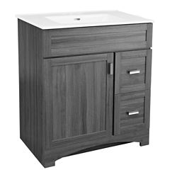 GLACIER BAY Rocara 30-inch W Vanity in Grey with Vitreous China Top in White and Rectangular Basin