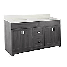 Rocara 60-inch W Vanity Combo with White Engineered Stone Top
