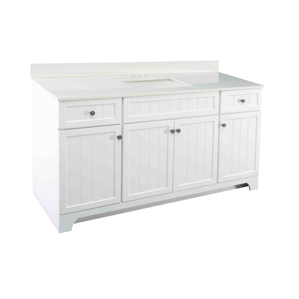 GLACIER BAY Whitton 60-inch W Vanity Combo with White Engineered Stone Top