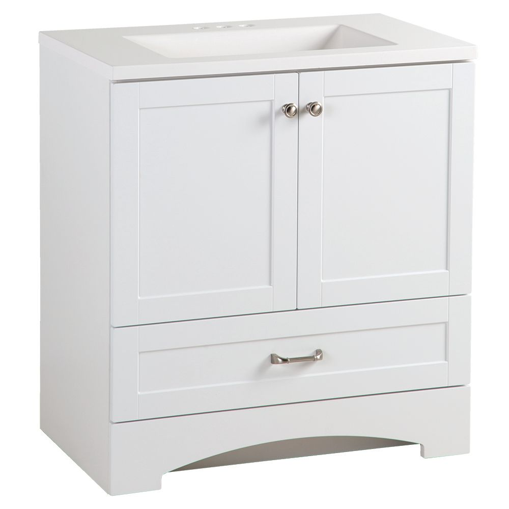 GLACIER BAY Lancaster 30-inch with Vanity in White with Alpine Vanity Top