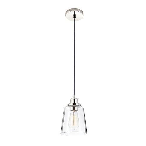 1-Light 60W Polished Nickel Pendant with Clear Glass Shade