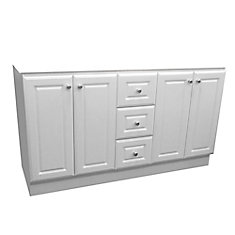 Classic 61-inch W 3-Drawer 4-Door Freestanding Vanity in White (Top not Included)