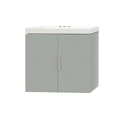 19-inch W 2-Door Wall Mounted Vanity in Grey With Artificial Stone Top in White