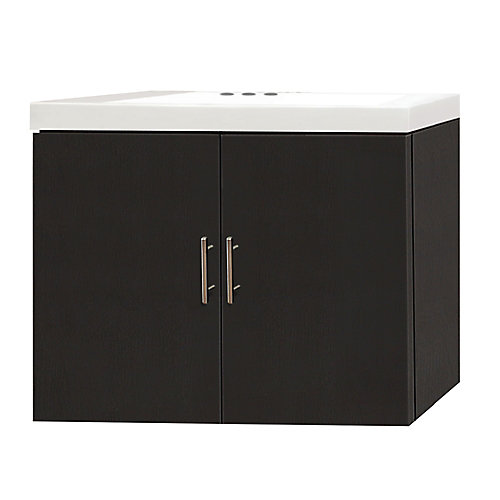 25-inch W 2-Door Wall Mounted Vanity in Espresso With Artificial Stone Top in White