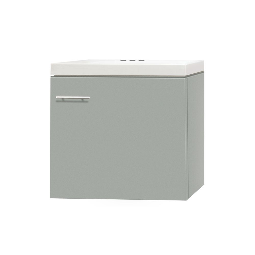 Magick Woods 17.50-inch W 1-Door Wall Mounted Vanity in Grey With Artificial Stone Top in White