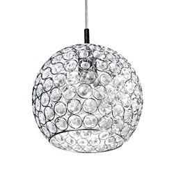 Home Decorators Collection Luminaire suspendu, chromé, une ampoule, 60W, diffuseur cristallin en dôme