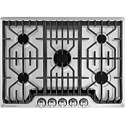 30-inch Gas Cooktop with Griddle in Stainless Steel with 5 Burners