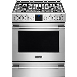 30-inch 5.1 cu. ft. Gas Front Control Freestanding Range with Self-Cleaning in Stainless Steel