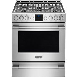 Frigidaire Professional 30-inch 5.1 cu. ft. Gas Front Control Freestanding Range with Self-Cleaning in Stainless Steel