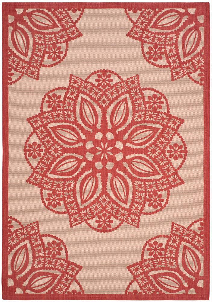 Courtyard Elmer Beige / Red 5 ft. 3 inch x 7 ft. 7 inch Indoor/Outdoor Area Rug