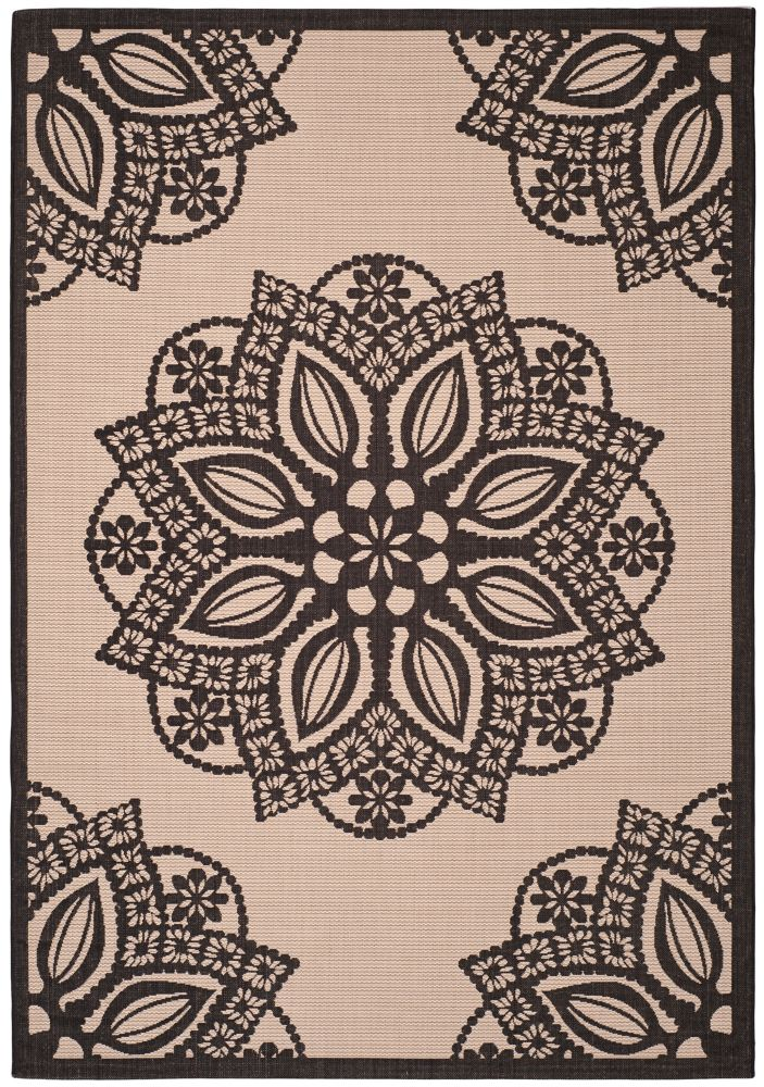 Safavieh Courtyard Elmer Beige / Black 4 ft. x 5 ft. 7 inch Indoor/Outdoor Area Rug