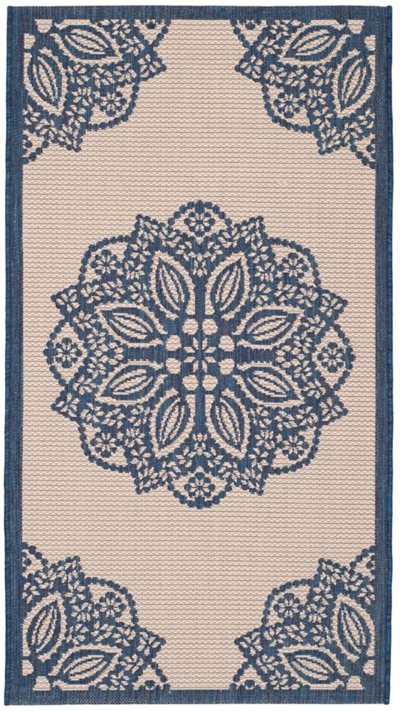 Safavieh Courtyard Elmer Beige / Navy 4 ft. x 5 ft. 7 inch Indoor/Outdoor Area Rug