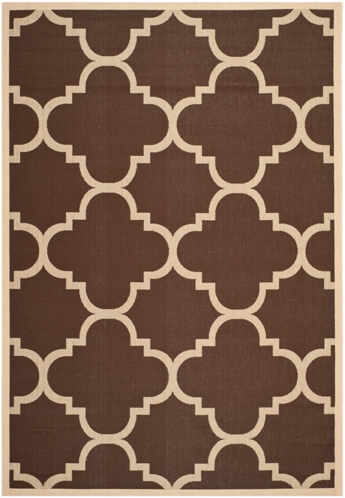 Safavieh Courtyard Alex Dark Brown 8 ft. x 11 ft. Indoor/Outdoor Area Rug