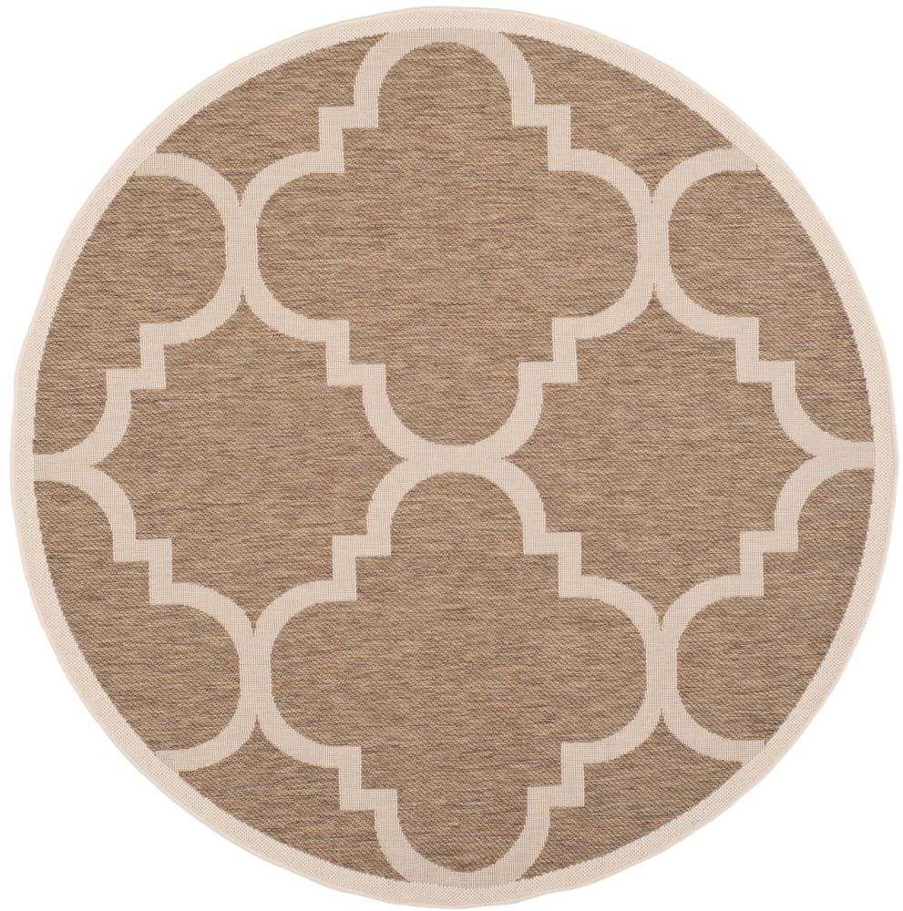 Safavieh Courtyard Alex Brown 5 ft. 3 inch x 5 ft. 3 inch Indoor/Outdoor Round Area Rug