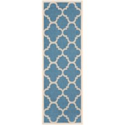 Safavieh Courtyard Alex Blue / Beige 2 ft. 3 inch x 6 ft. 7 inch Indoor/Outdoor Runner
